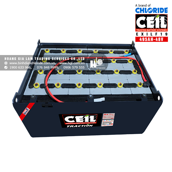 Bình điện xe nâng CEIL (Chloride) 48V - 495Ah EXILF19